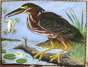 Green heron and frog acrylic painting