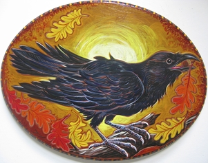Crow in autumn acrylic painting