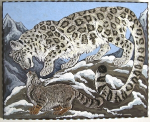 Snow leopard and Pallas Cat acrylic painting