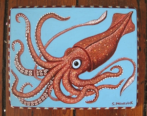 Red squid acrylic painting